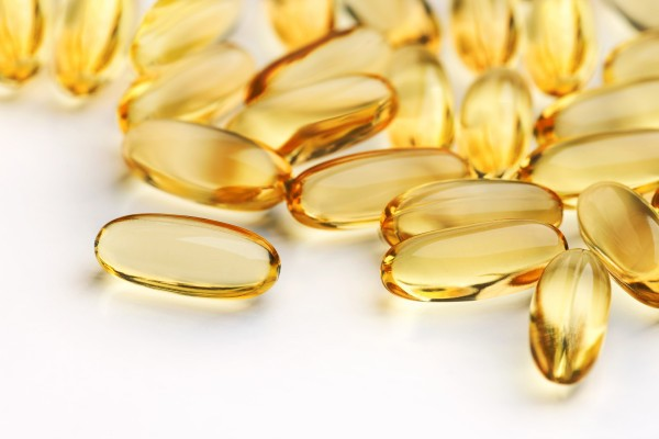 Close up shot with shallow depth field of health supplement oil capsules